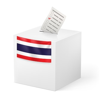 Election in thailand: ballot box with voicing paper isolated on white background