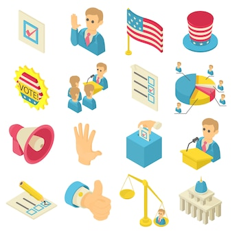 Election voting icons set. isometric illustration of 16 election voting icons set vector icons for web