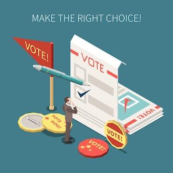 Иллюстрация голосования на выборах с бюллетенями, памятными значками и желанием сделать правильный выбор изометрии