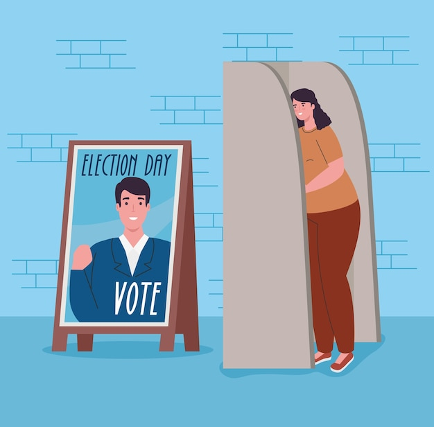 Elections day banner and woman in vote booth design, government