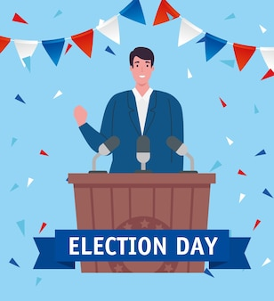 Elections day president on podium design, government
