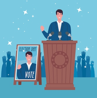Elections day president on podium with banner design, government