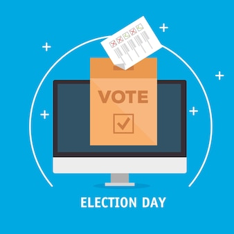 Elections day vote box with paper on computer design, government