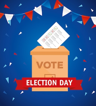 Elections day vote box with paper design, government