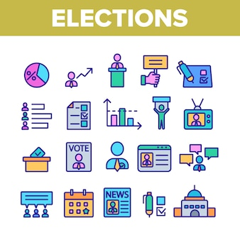 Elections elements icons set