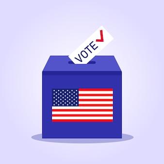 アメリカの選挙。投票用の投票箱。投票用紙