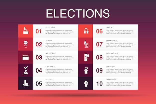 선거 인포그래픽 10 옵션 템플릿입니다. 투표, 투표함, 후보자, 출구 투표 간단한 아이콘