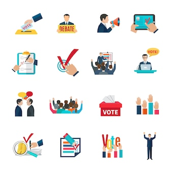 Elections with voting debates and agitation icons set