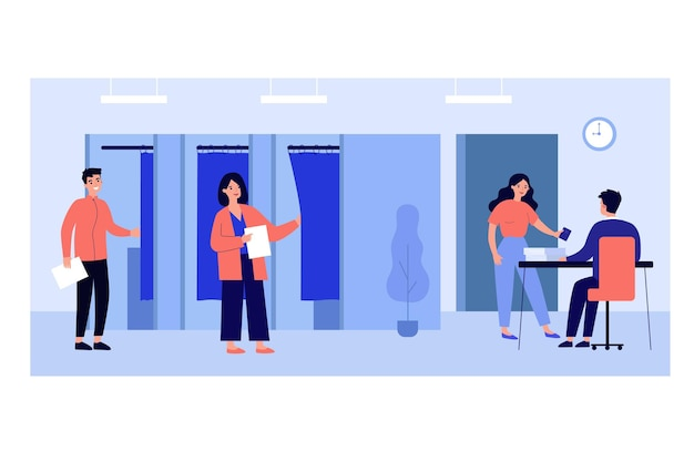 Electorate people voting in booths at election poll illustration
