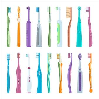 Набор электрических и ручных зубных щеток для гигиены полости рта. мультфильм стоматологическая щетка продукт с нейлоновой щетиной, пластиковая ручка для зубов, здравоохранения инструмент векторные иллюстрации, изолированные на белом фоне