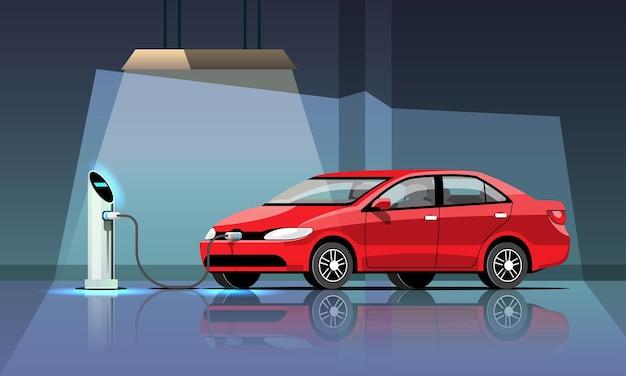 電気自動車がガレージ発電所で充電中