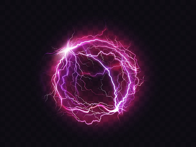 Electric ball lightning circle strike impact place