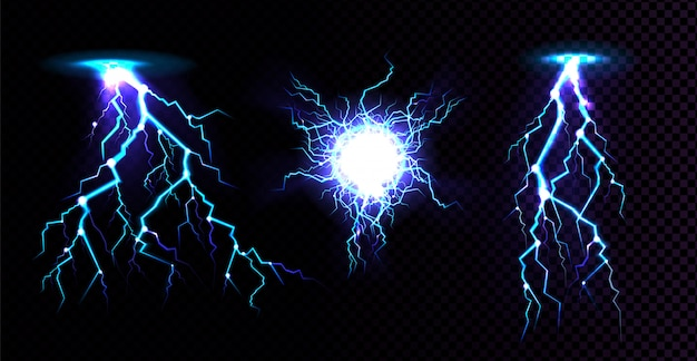 Electric ball and lightning strike, impact place, plasma sphere or magical energy flash in blue color isolated on black background. powerful electrical discharge, realistic 3d illustration