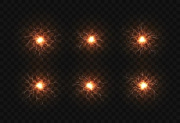 Electric balls and lightning strikes. lightning flash light thunder spark effect.
