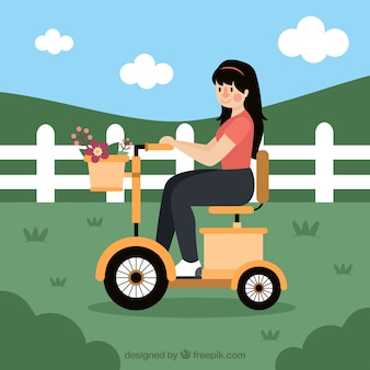 Electric bike concept with cute girl