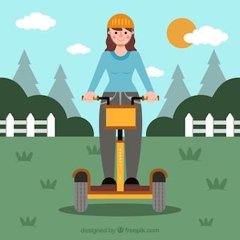 Концепция электрического велосипеда с девушкой в сельской местности