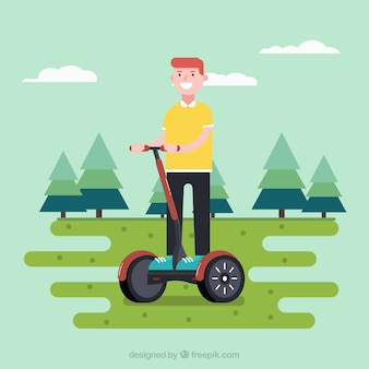 Electric bike concept with happy man