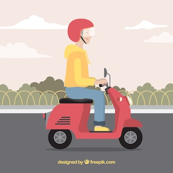 Electric bike concept with man wearing helmet