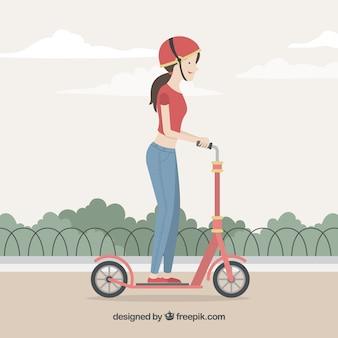 Концепция электрического велосипеда с женщиной в парке