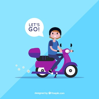 Electric bike concept with woman saying lets go