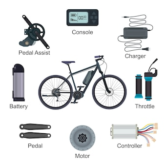 Electric bike vector e-bike transportation with ecologic cycle battery power energy illustration set of ebike