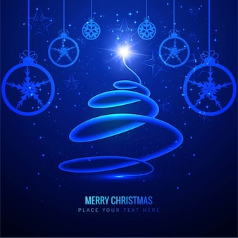 Electric blue christmas tree background