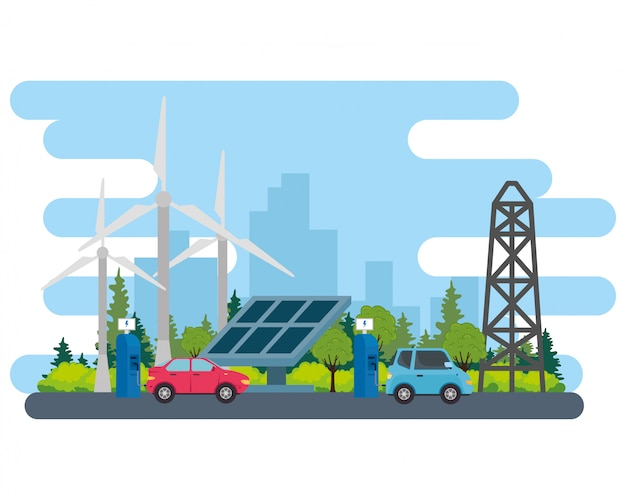 Electric blue and red car with solar panel station and wind mills vector design