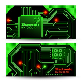 Electric board banners set in green colors