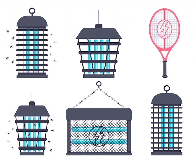 Electric bug zapper, fly swatter racket and mosquito trap vector cartoon flat set isolated.