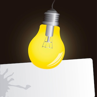 Electric bulb on in the dark space advertising vector