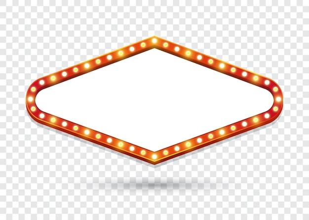 Доска объявлений электрических лампочек. пустой ромб ретро светлые рамки для текста. иллюстрация