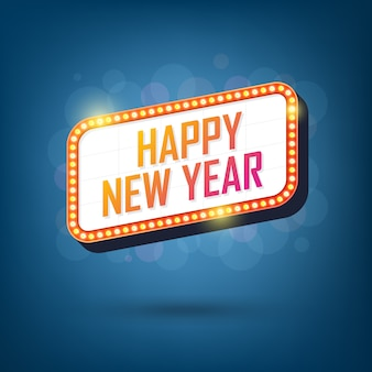 Electric bulbs billboard of happy new year retro light frame