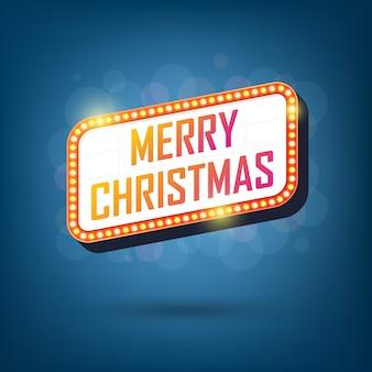 Electric bulbs billboard of merry christmas retro light frames