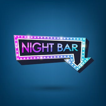 Electric bulbs retro billboard with light text of night bar  illustration