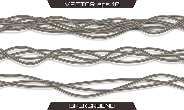 Electric cables.realistic electrical gray industrial wires