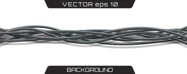 電気ケーブル。現実的な灰色の工業用ワイヤー。
