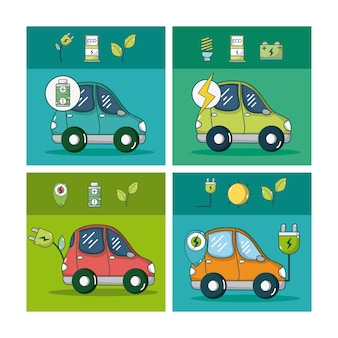 Electric car and green energy set of square frames