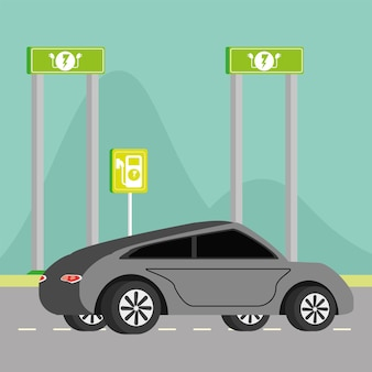電気自動車と道標