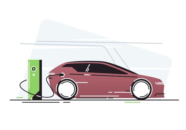車両充電ステーションの電気自動車。