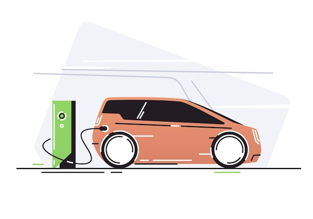 Электромобиль на станции зарядки автомобилей.