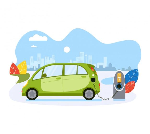 Батарея обязанности электрического автомобиля, перезаряжатель электротранспорта общественной экологичности дружелюбный на белизне, иллюстрации. концепция эко город будущего.
