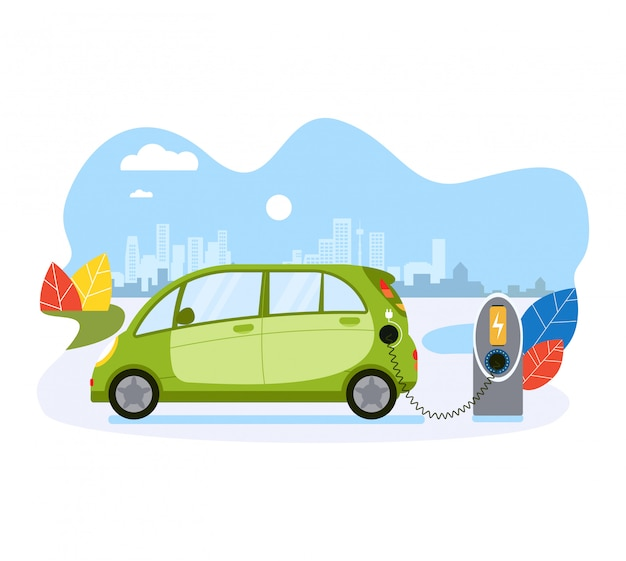 Electric car charge battery, public ecology friendly electric vehicle recharger  on white,   illustration. concept eco city of future.