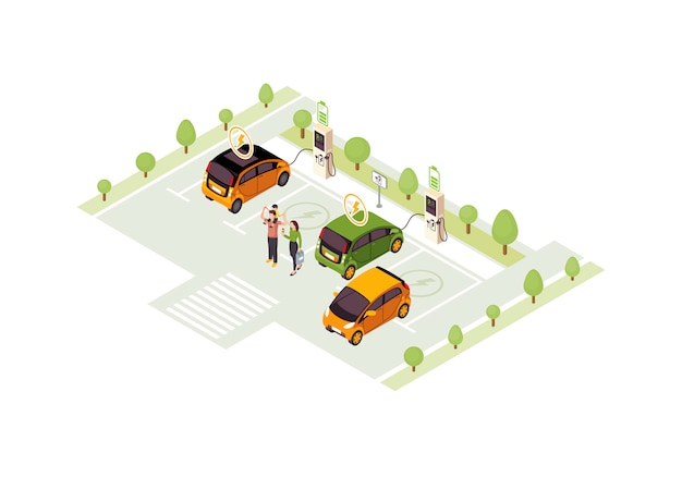 Electric car charge station isometric color  illustration