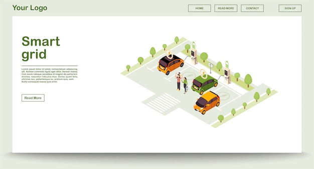 Electric car charge station webpage  template with isometric illustration