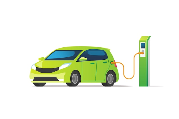 충전기 스테이션에서 충전하는 전기 자동차.