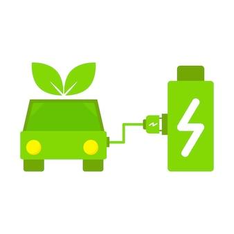 충전소에서 배터리를 충전하는 전기 자동차. 배터리 일러스트레이션 개념이 있는 전기 자동차.