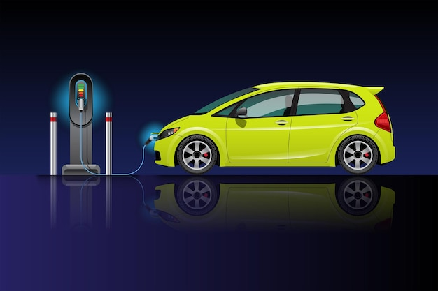 Electric car charging at charger station. ev vehicle. isolated on blue-black background.