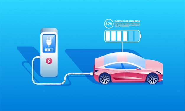 Electric car charging at the charger station