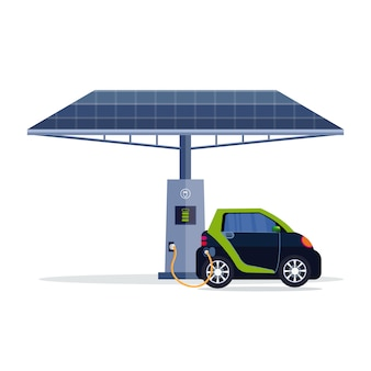 Electric car charging on electrical charge station with solar panel renewable eco technologies clean transport environment care concept