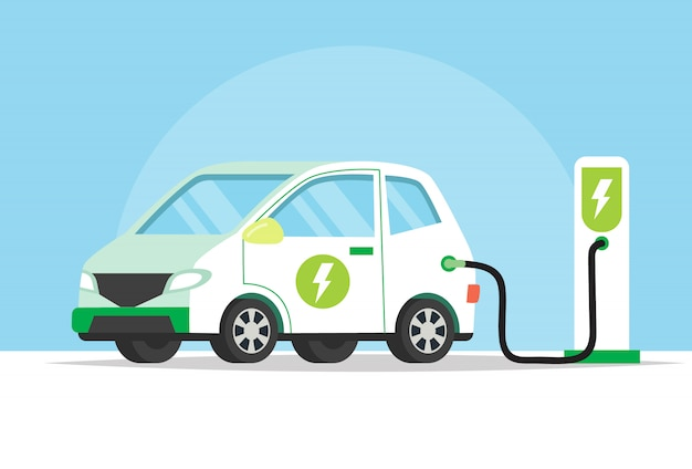 Electric car charging its battery, concept illustration for green environment